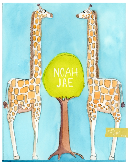 Nomadic Poetry Studio: Noah giraffe name paintling