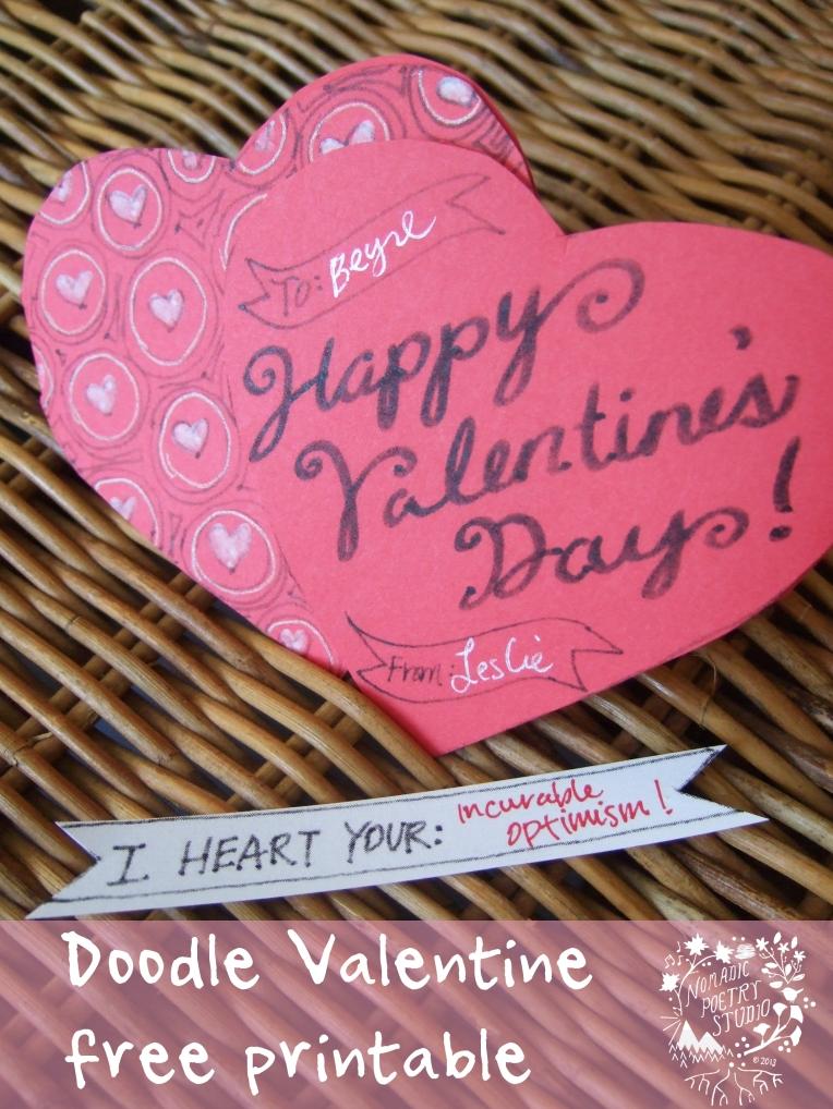 Nomadic Poetry Studio: doodle valentine free printable