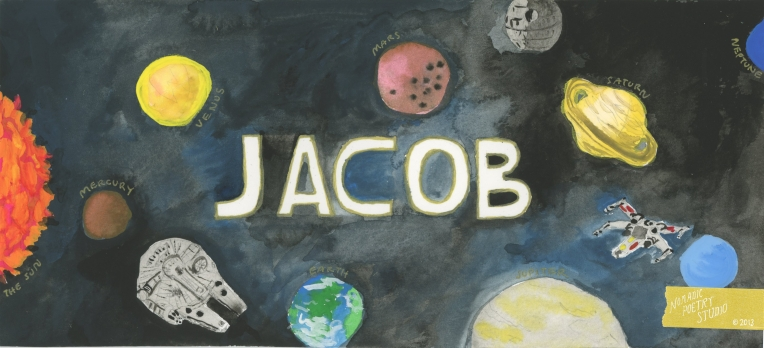 Nomadic Poetry Studio:  Jacob name paintling